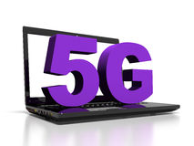 Symbol 5G on a laptop computer, high-speed wireless communication concept, 3d render Stock Image