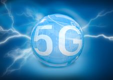 symbol 5G på digital bakgrund Arkivbilder