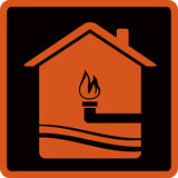 Symbol with gas pipe and fire Royalty Free Stock Photos