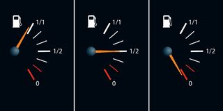 Symbol of the gasoline breakdown, with the needle showing the empty tank royalty free illustration