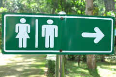 Symbol of gender and direction. Direction to restroom in national park Stock Image