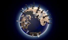 Symbol of geopolitics the world globe with chess pieces Royalty Free Stock Images