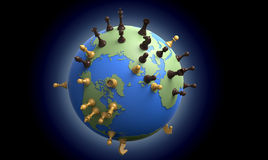 Symbol of geopolitics the world globe with chess pieces Royalty Free Stock Photography