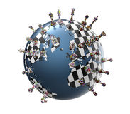 Symbol of geopolitics the world globe with chess pieces Royalty Free Stock Image