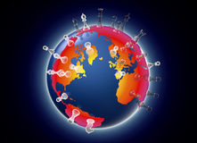 Symbol of geopolitics the world globe with chess pieces Royalty Free Stock Photos