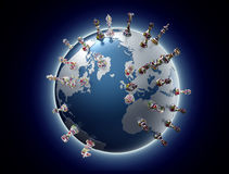 Symbol of geopolitics the world globe with chess pieces Stock Photography