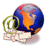 At symbol, globe and envelopes. 3D at symbol near airmail envelopes and a world globe stock illustration