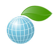 Symbol of globe with the plant Royalty Free Stock Photo