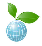 Symbol of globe with the plant Stock Photos