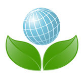 Symbol of globe with the plant Stock Photo
