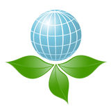 Symbol of globe with the plant Royalty Free Stock Photos