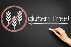 Symbol for gluten-free food. On blackboard Royalty Free Stock Image