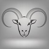 Symbol of goat. Illustration with symbol of goat on a grey background Stock Photography
