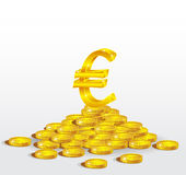 Symbol of Gold  Euro with coins Stock Photo