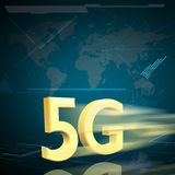 Symbol of Gold 5G speed internet on Digital background Royalty Free Stock Photo