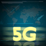 Symbol of Gold 5G speed internet on Digital background Stock Photos
