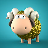 Symbol of 2015. Gold Sheep on blue background. Illustration of 2. 015 year of the sheep Stock Photos
