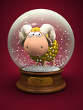 Symbol of 2015. Gold Sheep in snow ball. 3D Stock Photo