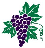 Symbol of grapes. A symbol of grapes with leaves and a rod royalty free illustration