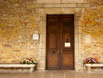 Symbol of Grief. A close door in a day of grief in the municipality of Mirepoix France stock photos