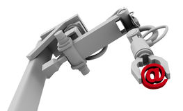 @ Symbol in Grip of Robot Arm. High resolution raytraced 3D render of red @ symbol in the grip of a robot's claw vector illustration