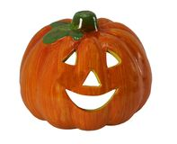 Orange halloween pumpkin with eyes and laughing mouth. Symbol of HaLloWeEn is an scarry Orange pumpkin called Jack-o`-lantern on white background stock photos