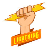 Symbol of Hand Grasping Lightning Royalty Free Stock Photography
