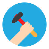 Symbol hand with hammer Royalty Free Stock Photography
