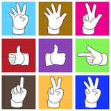 Symbol of Hand in Simple Shape. Set of 9 different hand gestures. include EPS file Royalty Free Stock Photo