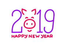 2019 symbol. Happy new year. Chinese Pig. Banner, card. Purple a. Nd red color. Greeting card, poster. Chalk or pencil hand drawn. Doodle piglet. Piggy vector illustration