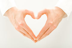 Symbol of heart. Image of woman�s hands made in the form of heart stock image