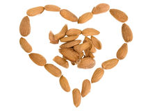 Symbol of heart from almond nuts Royalty Free Stock Photography