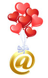 At-symbol with heart balloons. At-symbol with bunch of heart balloons Royalty Free Stock Image
