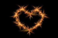 Symbol heart on black background. Fractal graphics with scene of the figure heart on black background Stock Photo