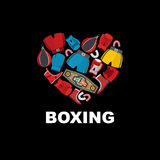 Symbol of the heart of boxing gear: helmet, shorts and boxing gl Royalty Free Stock Photos