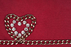 Symbol of heart from the chain and rhinestones Stock Photo