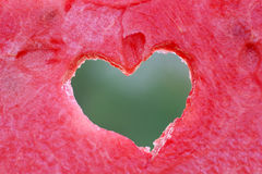 Symbol of heart cropped in watermelon slice Royalty Free Stock Photo