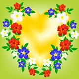 Symbol heart in encirclement flower Royalty Free Stock Photo