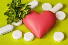 Symbol heart with herbs and medicine pills. Heart symbol with herbs and medicine pills on fresh green background Royalty Free Stock Image