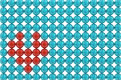Symbol of heart red blue beads pattern 3D illustration. Symbol of heart red blue beads pattern on white background Stock Photography