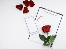 Symbol Heart red paper with rose on white royalty free stock photo