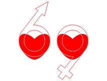 69 symbol. Hearts, male and female symbols as 69 Stock Illustration