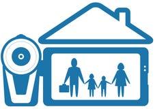 Symbol-Heimvideo mit Familie und Videokamera Lizenzfreie Stockfotos