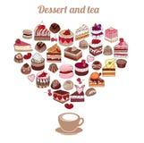 Symbol-Herz gemacht von den verschiedenen Nachtischen Kuchen, Muffin, Makrone, Torte, Süßigkeit stock abbildung