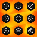 Symbol. Hexagonal icons set on abstract orange bac Stock Photography