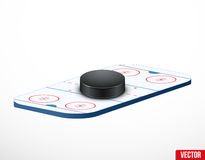 Symbol of a hockey puck and ice arena Royalty Free Stock Image