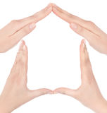 Symbol home from hands Stock Photo