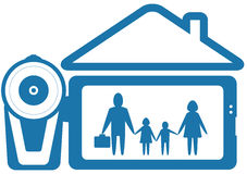 Symbol home video with family and video camera. Blue symbol home video with family and video camera silhouette Royalty Free Stock Photos