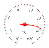 Symbol hot weather. Or global Warming. Arrow of the thermometer melt and bend from high temperature Stock Images
