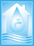 Symbol with house, drop and tap Stock Photography